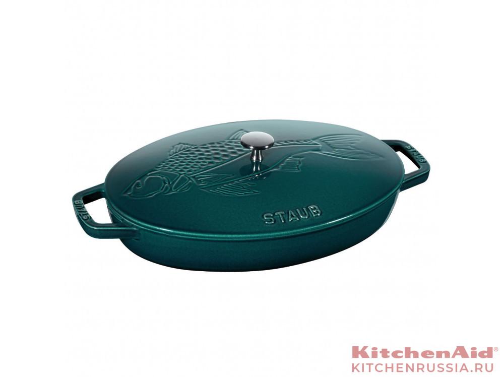 Сковорода овальная для рыбы, 32 см, с чугунной крышкой 11223337 в фирменном магазине Staub