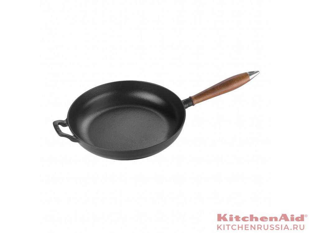 Винтаж круглая, 28 см, с деревянной ручкой, черная 12302823 в фирменном магазине Staub