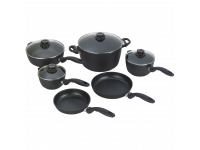 Набор алюминиевой посуды с алмазным покрытием из кастрюли, сотейника и 2-х ковшей с крышками и 2-х сковород, Черный nd SWISS DIAMOND XD Classic+