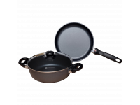 Набор алюминиевой посуды с алмазным покрытием из сотейника с крышкой и сковороды, Черный Swiss Diamond XD Classic+