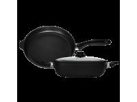 Набор алюминиевой посуды с алмазным покрытием из сковороды и сотейника с крышкой, Черный Swiss Diamond XD Classic+