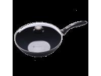 Алюминиевая сковорода-вок со стеклянной крышкой, с длинной ручкой и крышкой, 28 см, Черная Swiss Diamond XD Classic+ Induction
