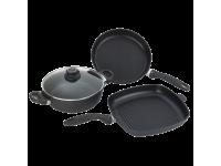Набор алюминиевой посуды с алмазным покрытием из сотейника с крышкой, сковороды и сковороды-гриль, Черный Swiss Diamond XD Classic+Induction