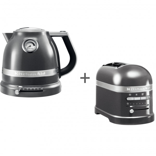 Набор завтрак KitchenAid чайник 5KEK1522EMS + тостер 5KMT2204EMS Серебряный медальон