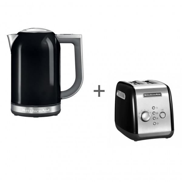 Набор завтрак KitchenAid чайник 5KEK1722EOB + тостер 5KMT221EOB Черный